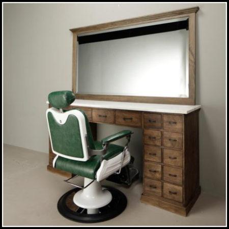 Vintage Barber meubel | Spiegel | Vitrinekasten | Herenkapsalon interieur | Hout | Marmer | Barbier | Kapper | Old school