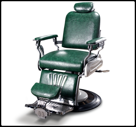 Barber stoel | Barbiersstoelen | Nostalgia | Groen | Kapper stoelen | Barbershop inrichting