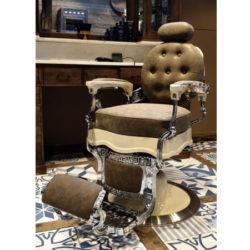 Barberstoel | Luxe barberstoel | Barberchair | Beste prijzen | Hoge kwaliteit | Chrome | Green | Creme | Salonchair