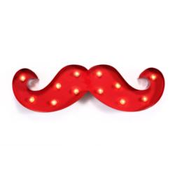Barber snor | Kapper decoratie | Barbershop interieur | Snor | Verlicht | Rood | Beste prijs | Online