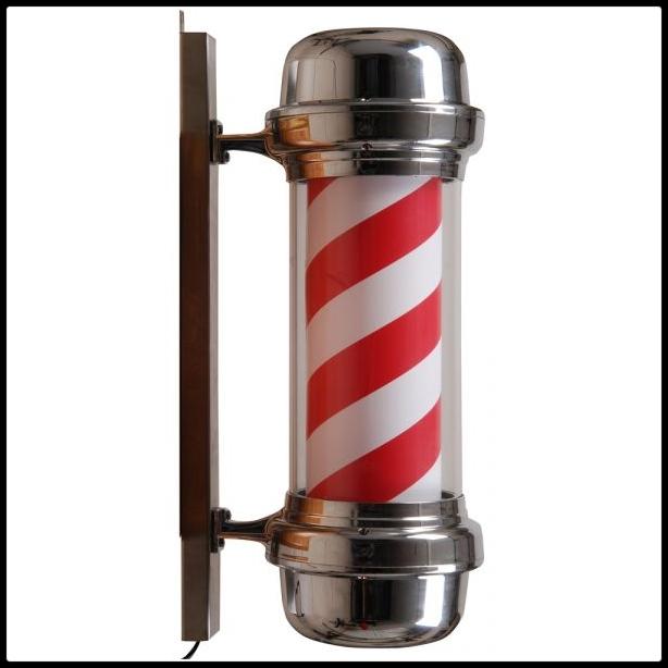 Barber paal | Rood wit Zilver | Kapperspaal | Barbershop openen